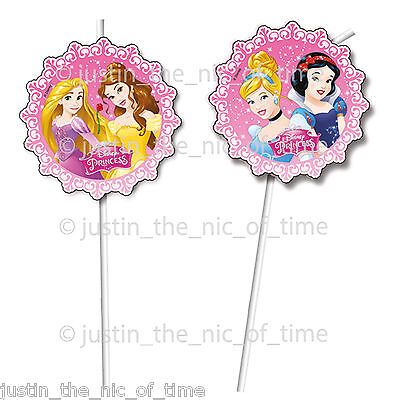 DISNEY PRINCESS Pink Girls Birthday Party Supplies Tableware DRINKING STRAWS x6