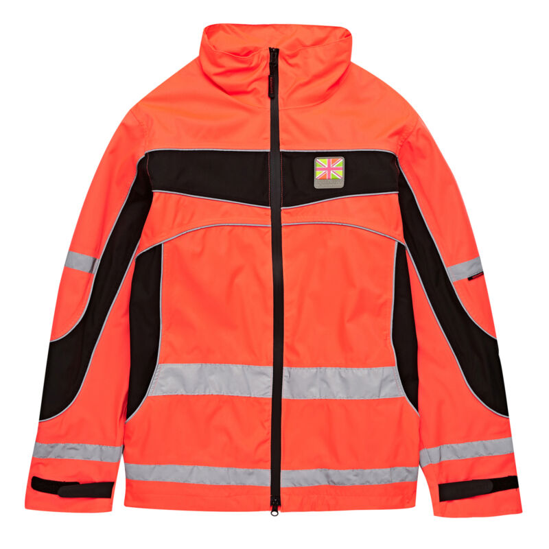 Equisafety Lightweight Waterproof Safety Wear Reflective Jacket - Red All Sizes
