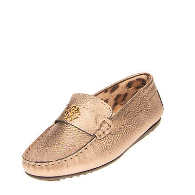 RRP €170 ROBERTO CAVALLI JUNIOR Leather Loafer Shoes EU32 UK13 US1 Made in Italy