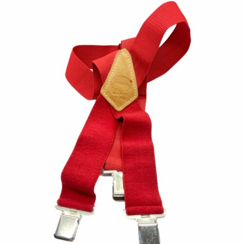Vintage Nicholas Mens Red Quality Products Since 1932 Canvas Elastic Suspenders