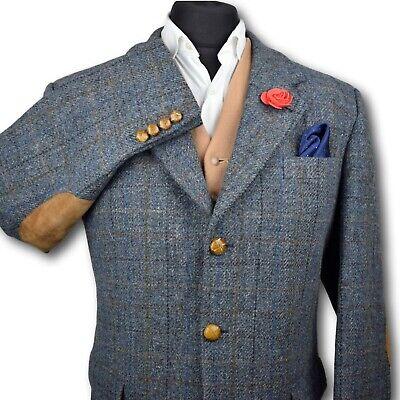 Harris Tweed Tailored HIGHMOOR Blue Country Blazer Jacket 44R STUNNING CLOTH 169
