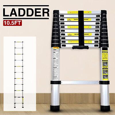 10.5 FT Multi Purpose Aluminum Ladder  Extend Telescopic Garden Tools Portable