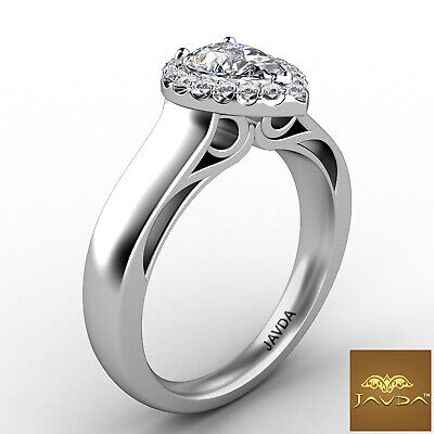 Halo Pave Set Womens Pear Diamond Engagement Ring Certified by GIA F VVS2 0.70Ct 6