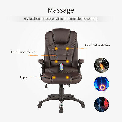 Massage Chair Office Computer Heated Vibrating Ergonomic Desk Executive Brown
