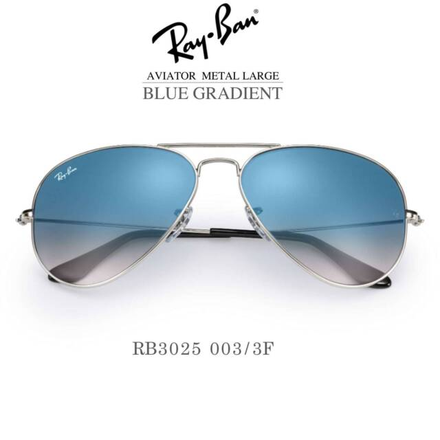 12498196bb2 Authentic Ray-Ban Aviator Blue Gradient Silver Sunglasses RB3025 ...