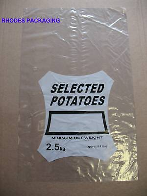 1000 2KG CLEAR POTATO POLYTHENE PLASTIC BAGS PRINTED - PERF'