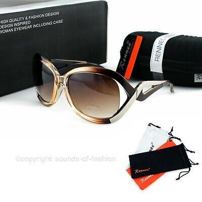 Damen Mode Sonnenbrille Braun Transparenter Rahmen Große Gläser Brillencase DS3