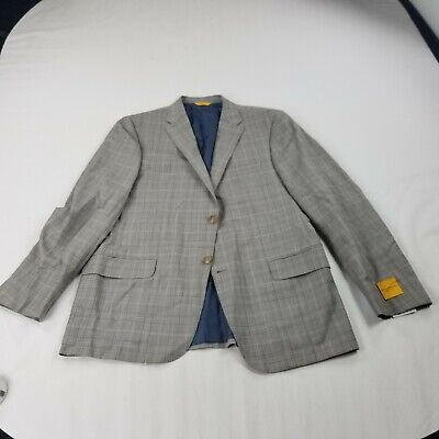 nwot Hickey Freeman Jacket Grey plaid 42 R Loro Piana blazer wool super 150
