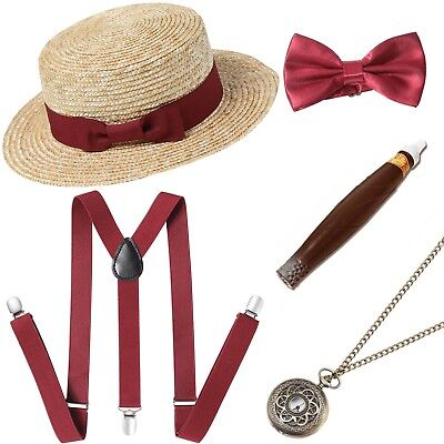 1920s Mens Gatsby Gangster Costume Accessories Set Flapper Men Accessories