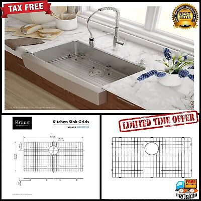 "Kraus Stainless Steel Bottom Grid Bowl 33"" Kitchen Sink 29 11/16"" x 15 11/16"" ()"