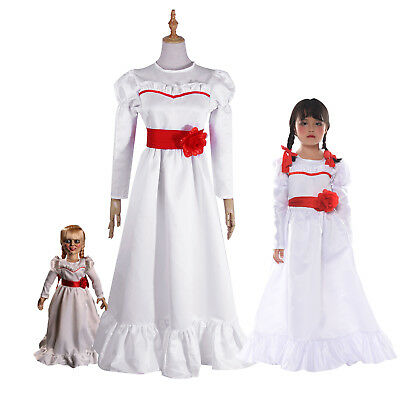 Halloween Costumes White (Halloween Costume The Conjuring Annabelle Creation Long Fancy Dress Adult /)