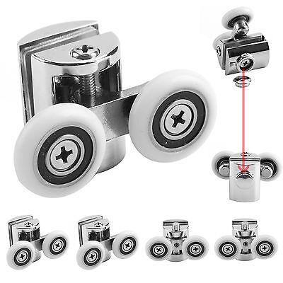 New 4 X Shower Door Wheels Heavy Duty Zinc Alloy Twin Top Bottom Rollers Runners