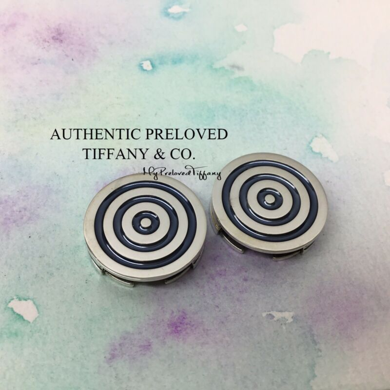Authentic Tiffany & Co. Paloma Picasso Blue Enamel Circle Swirl Button Cover