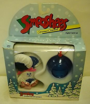 #3991 NRFB Vintage Fisher Price Smooshees Smoosh Mouse Christmas Ornament