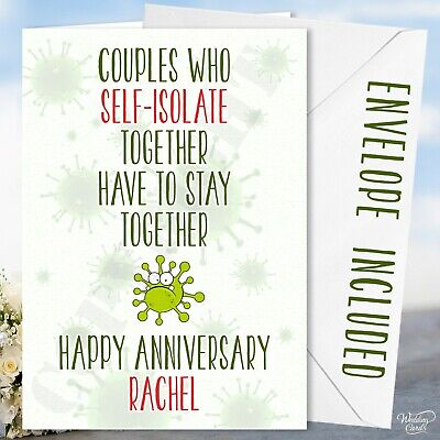Anniversary Card Quarantine Lockdown Self Isolate Husband Wife Virus Couple Love