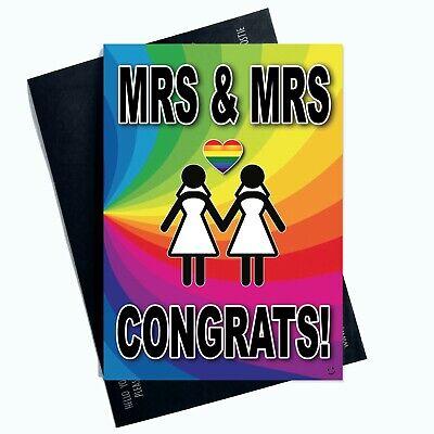 Mrs Y Tarjetas de Boda Mismo Sexo Gay Pareja Lesbianas Felicidades PC959
