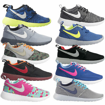 Nike Roshe Kids Trainers Infant Junior Run Print Footwear Lace Grey Black Blue