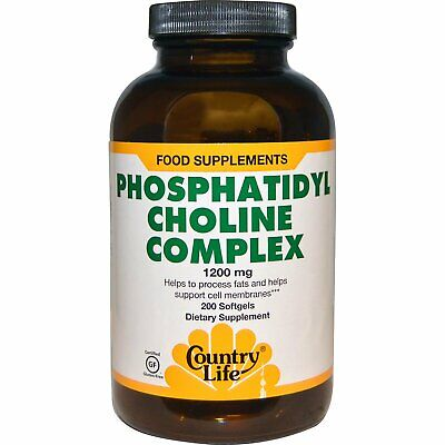 Country Life Phosphatidyl Choline Complex 1200 mg 200 Softgels Gluten-Free, GMP