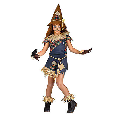 Halloween Costumes For Girl Groups (Girls Scarecrow Halloween Costume Hat Dress Raven Straw Oz Group Kids Child M)