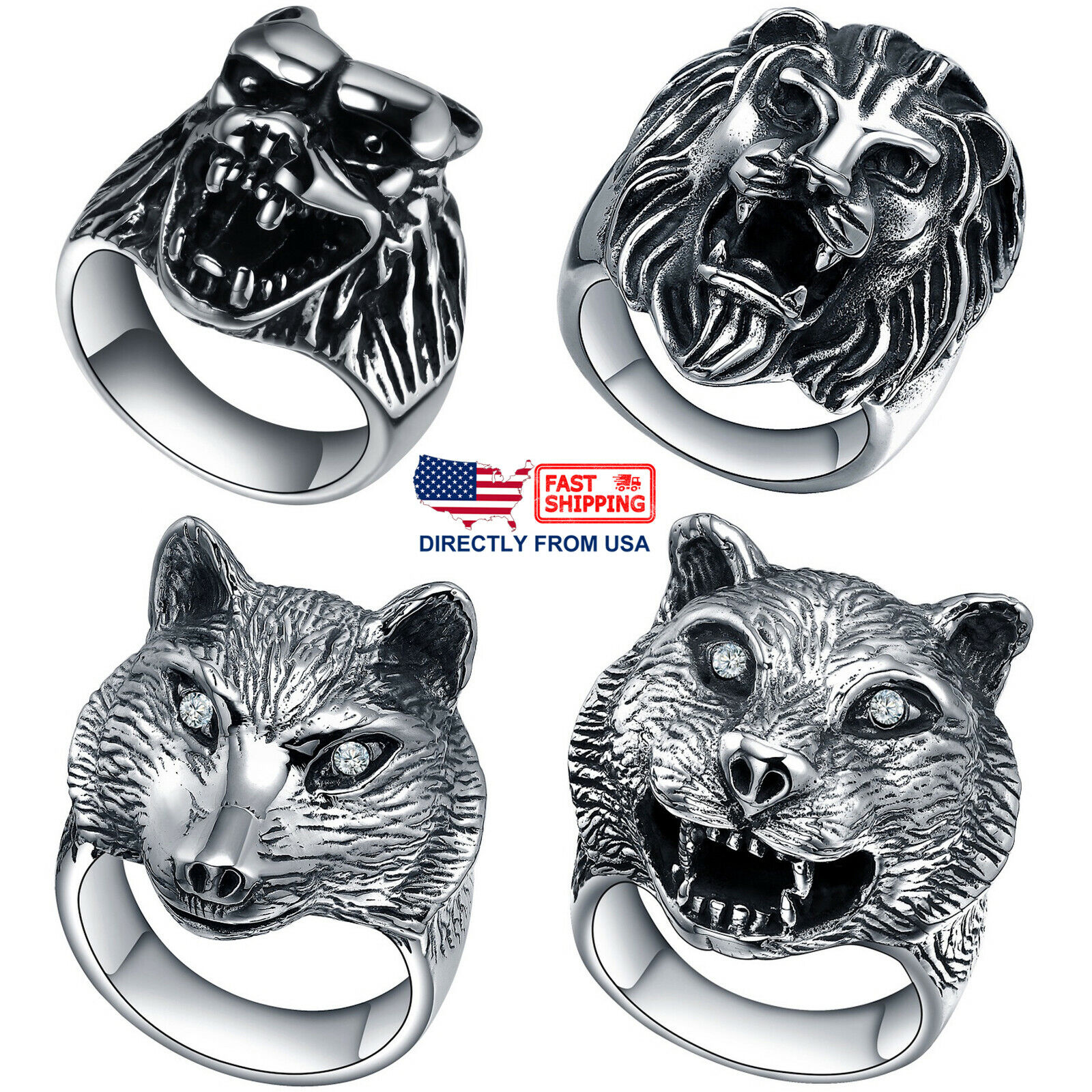 Men's Stainless Steel Gothic Biker Wolf and Lion Ring (Size 7 to 15, US Seller) Jewelry & Watches