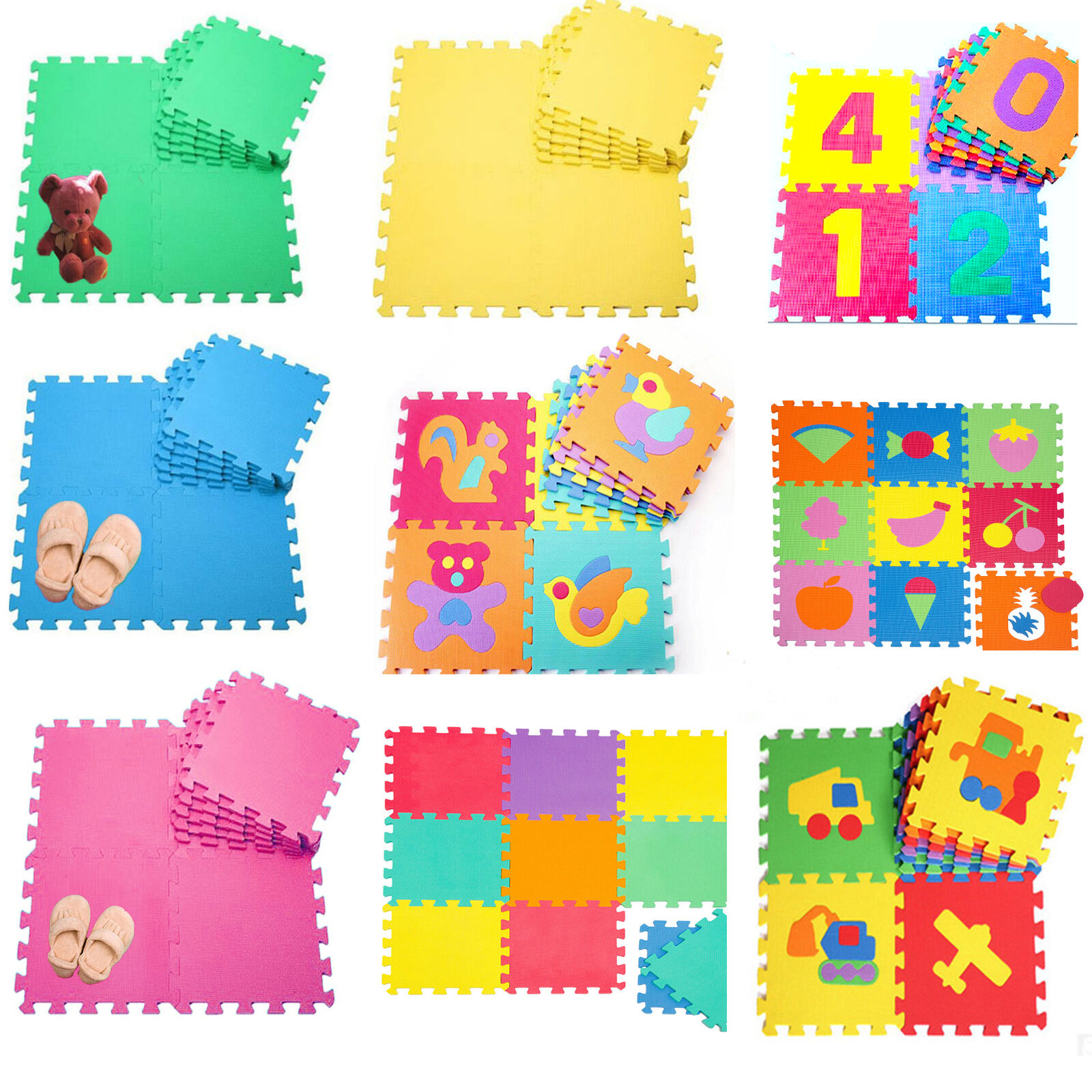 Large 10pc Eva Interlocking Soft Foam Kids Play Mats Floor