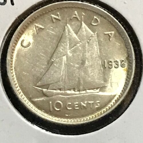 Canada 10 Cents KM 34 AU 1938