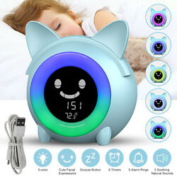 Kids Digital Alarm Clock Night Light Music Thermometer Sleep Lamp Bedroom Gift