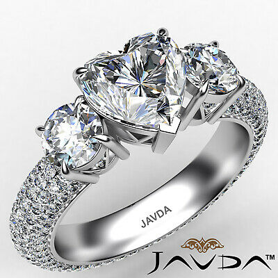 Natural Three 3 Stone Heart Diamond Eternity Engagement Micro Pave Ring 3.44Ctw.