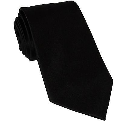 Black Polyester Extra Long Ties - New Polyester men's extra long Necktie only solid formal wedding party Black