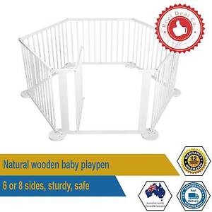 Baby Toddler Playpen White Natural Wood Gate 6 or 8 panel Sturdy Paddington Eastern Suburbs Preview