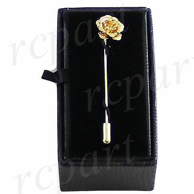 New in box Men's Suit brooch chest metal flower shape Gold lapel pin formal