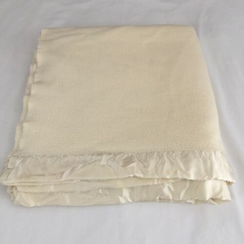 Ralph Lauren Acrylic Waffle Weave Thermal Blanket 90x84 Off White Vintage