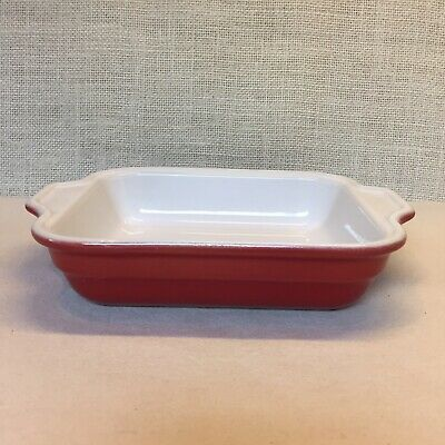 Emile Henry France Small Red & White Casserole Baking Dish