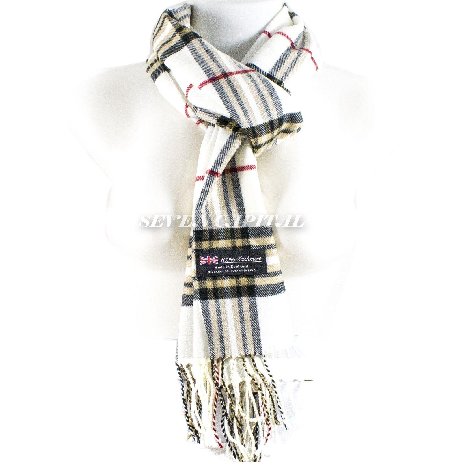 Mens Womens Winter Warm SCOTLAND Made 100% CASHMERE Scarf Scarves Plaid Wool 12. Plaid: White/Beige/Black