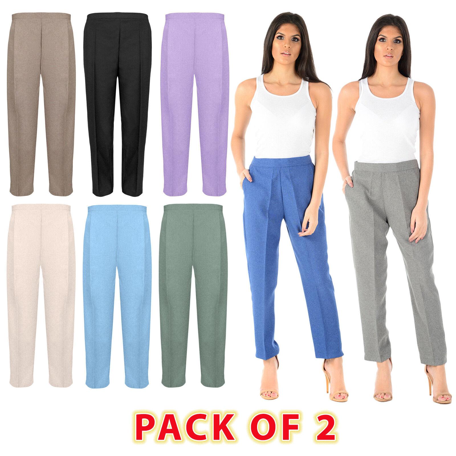 NEW Womens Half Elasticated Waist TROUSERS Ladies Pocket Pants Size
