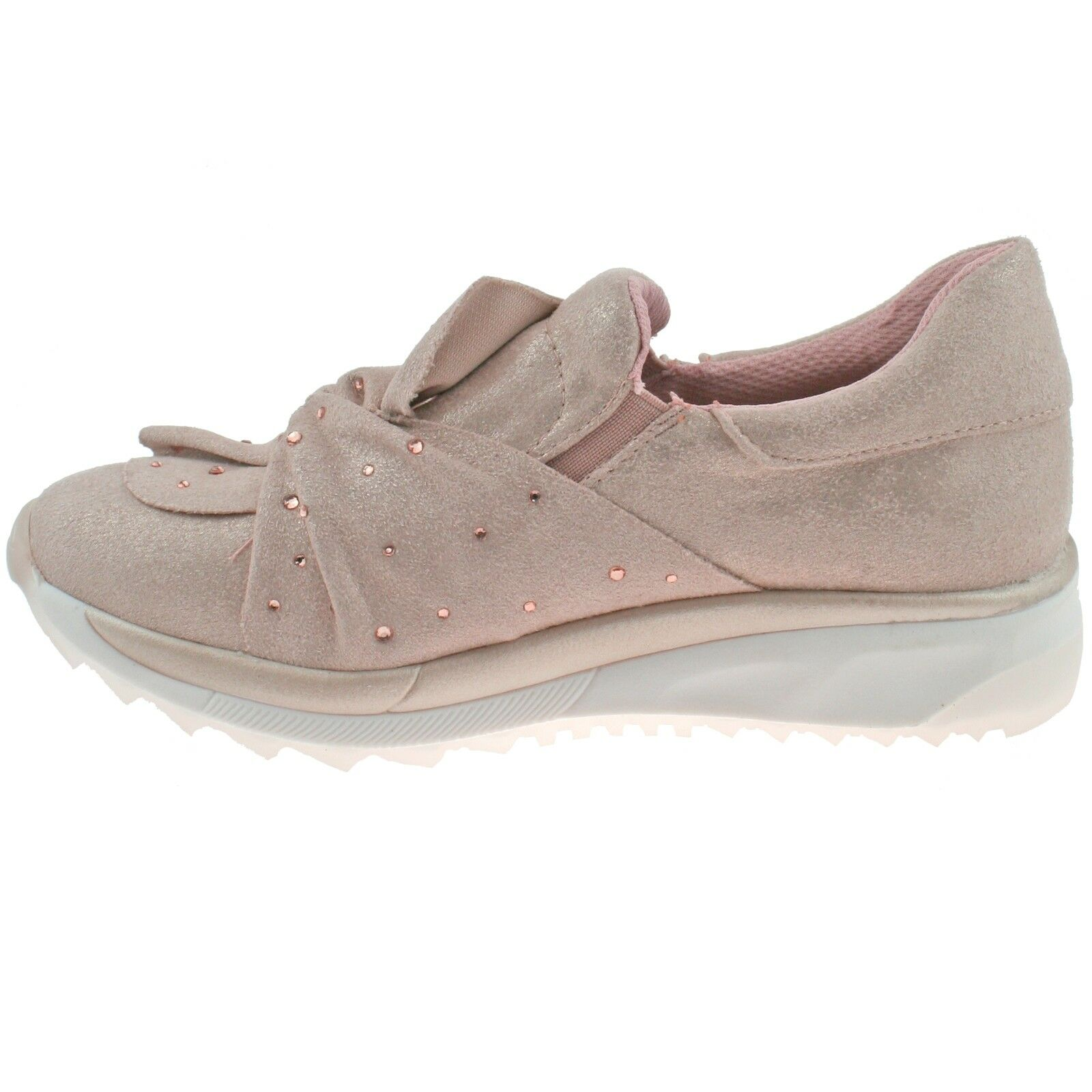 SALE Xti Kids Rose Gold Girls Slip on Pumps with Fashionable Bow Twist