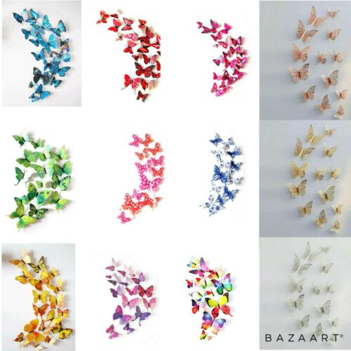 Home Decoration - 3D Butterfly Wall Stickers Home Decor Room Decoration Sticker Bedroom 12Pcs