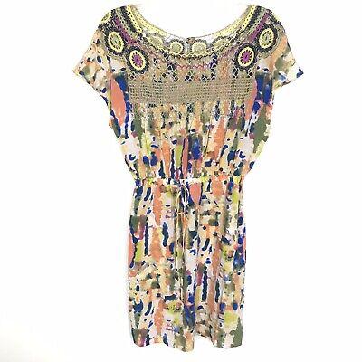 Plenty By Tracy Reese Dyed Silk Dress Crochet Yoke Watercolor Print Size P 0/2 ()