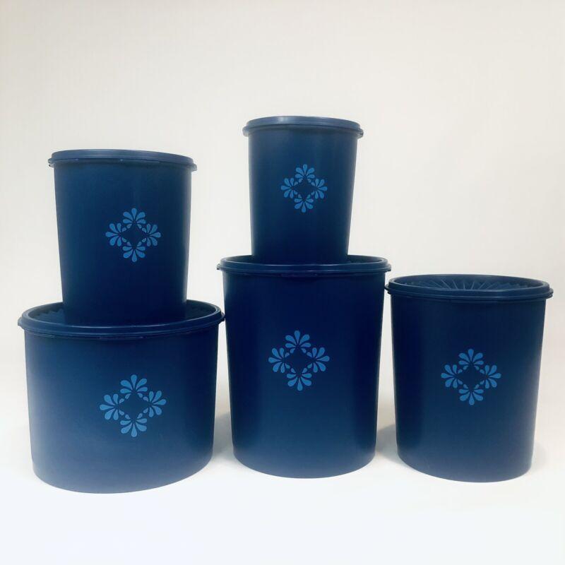 Tupperware Nesting Blueberry Cobalt Blue Canisters & Servalier Lids Set Of 5