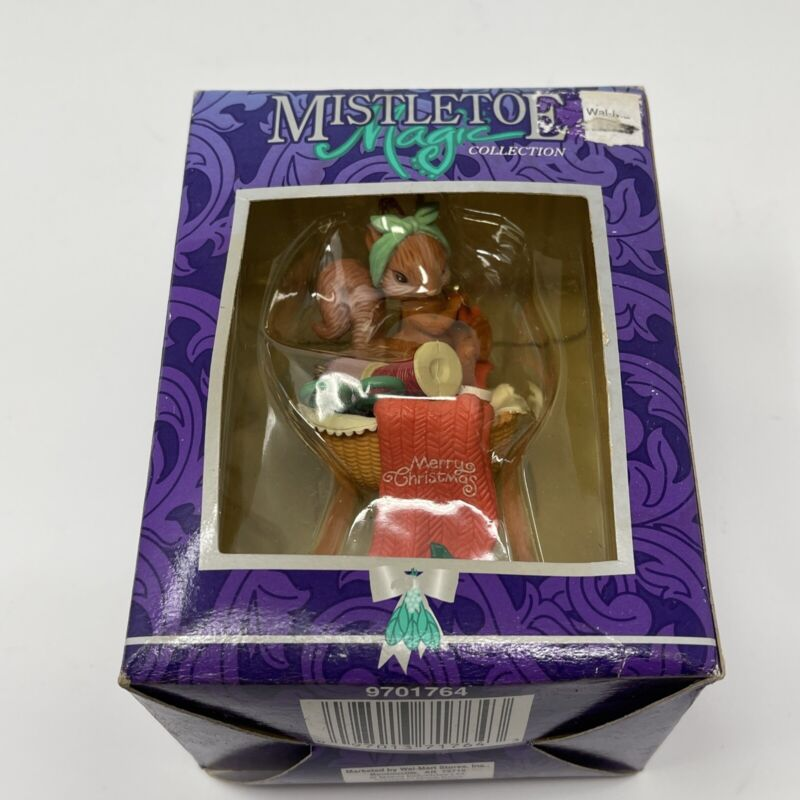 Vintage Mistletoe Magic Ornament Sewing Squirrel