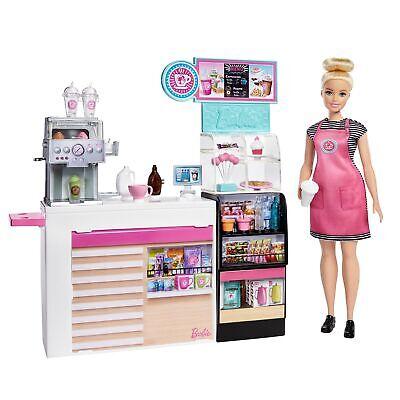 Barbie y su Cafetería, Muñeca con accesorios para café , smoothies, cupcakes...
