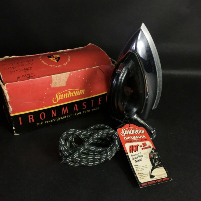 Vintage 1950 Sunbeam Dry Iron Ironmaster Model A-9 with box