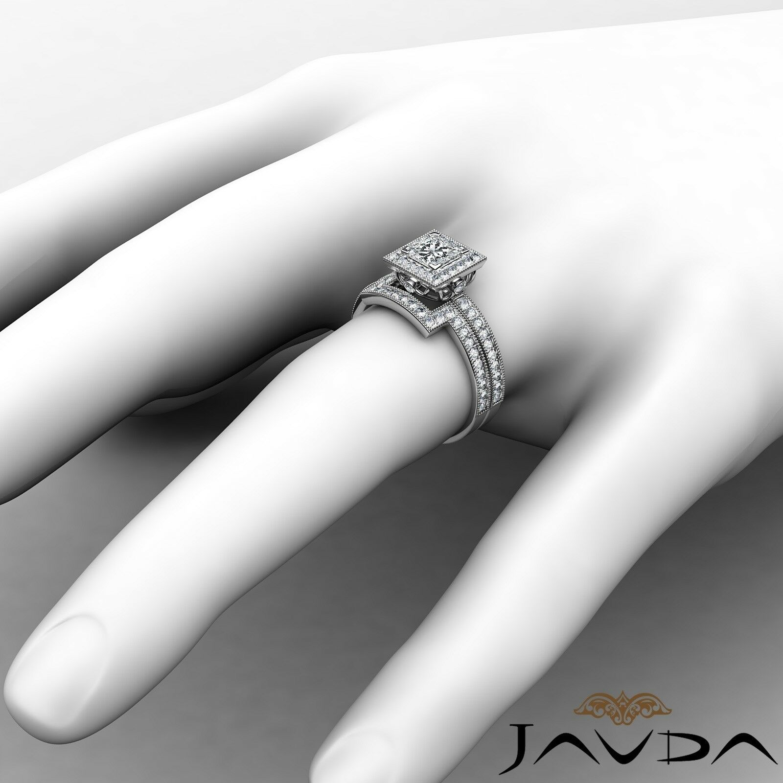 1.9ct Milgrain Edge Bridal Set Princess Diamond Engagement Ring GIA F-VS2 W Gold 4