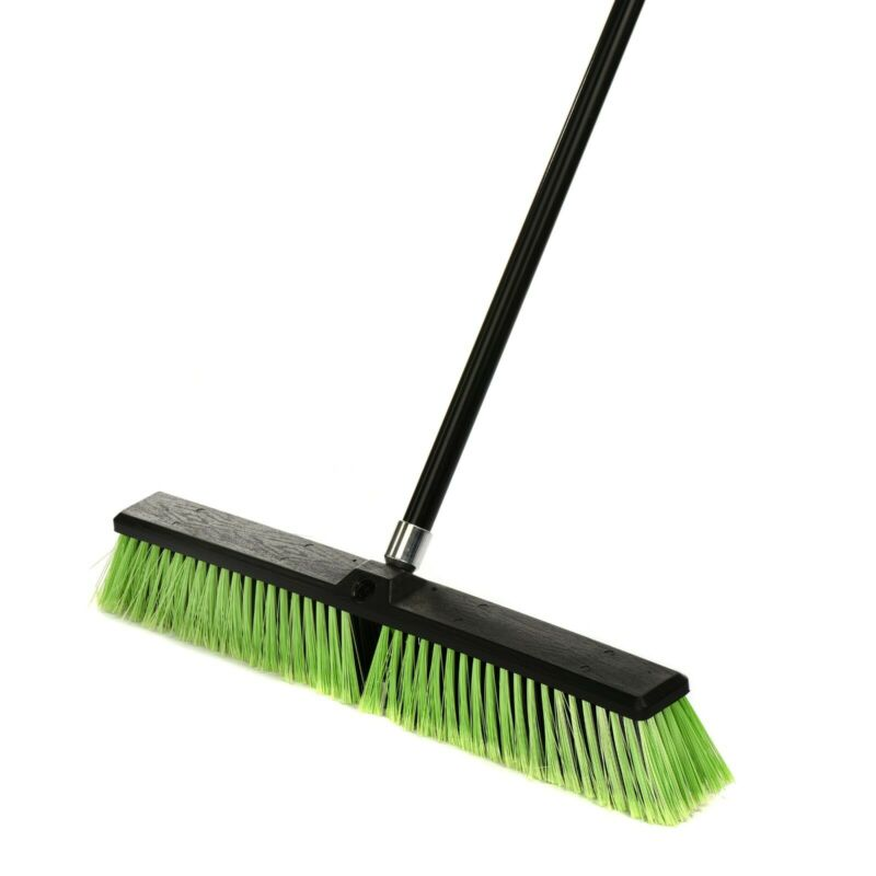 Alpine Industries 18 in. Green Brush Multi-Surface Hanging Commercial Push Broom