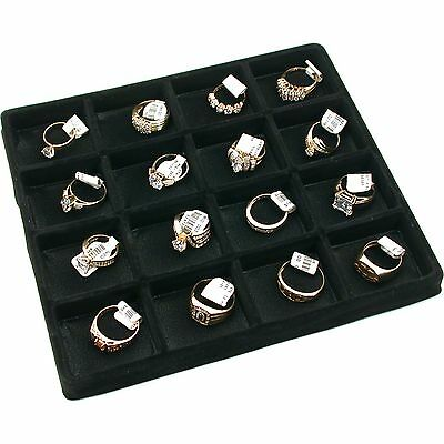 16 Slot Jewelry Coin Black Showcase Display Tray Insert