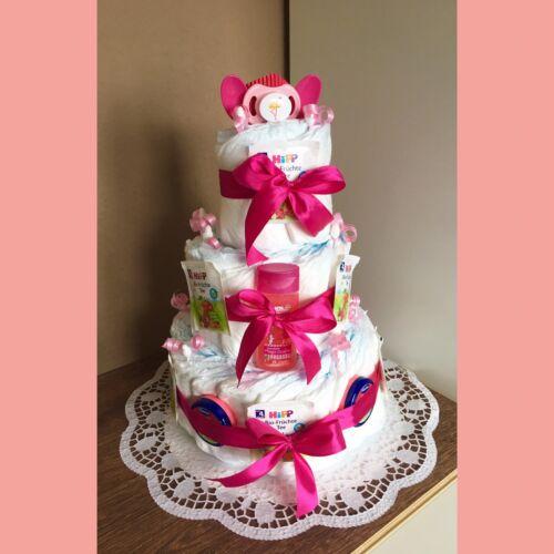 Windeltorte  Mädchen Babyparty Taufe Geschenk zur Geburt