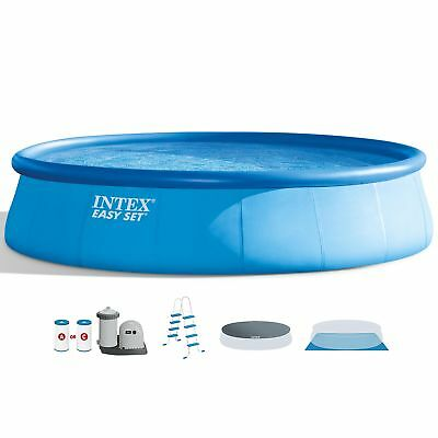 """Intex 18' x 48"""" Inflatable Peaceful Set Above Ground Swimming Pool Ladder & Pump"""