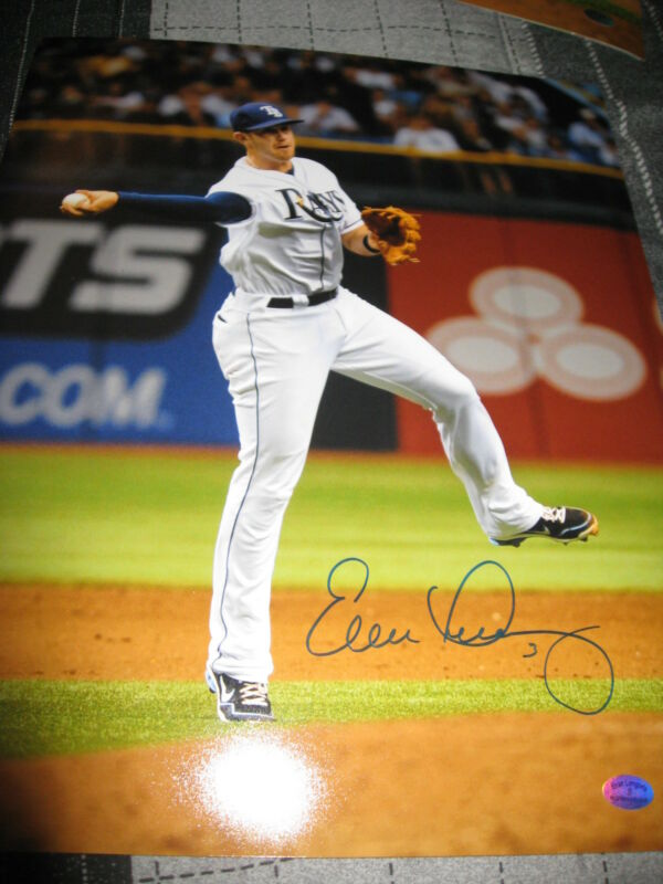 EVAN LONGORIA SIGNED AUTOGRAPH 11x14 PHOTO TAMPA BAY DEVIL RAYS IN PERSON COA D