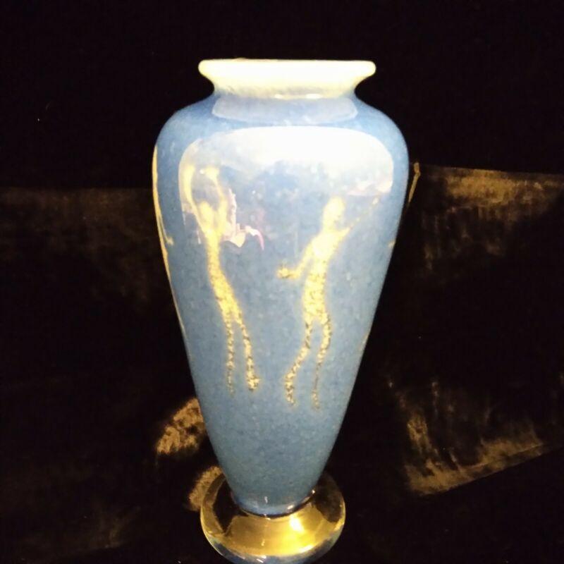 Ginger Dickson Handblown Art Glass Vase People Dancers PNW Studio Blue Heavy