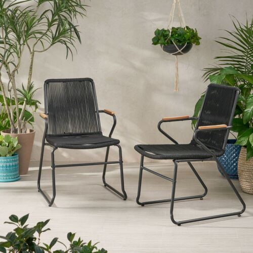 Laycee Modern Outdoor Rope Weave Club Chair (Set of 2) Home & Garden
